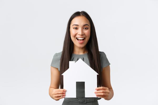 woman happy to buy a custom home